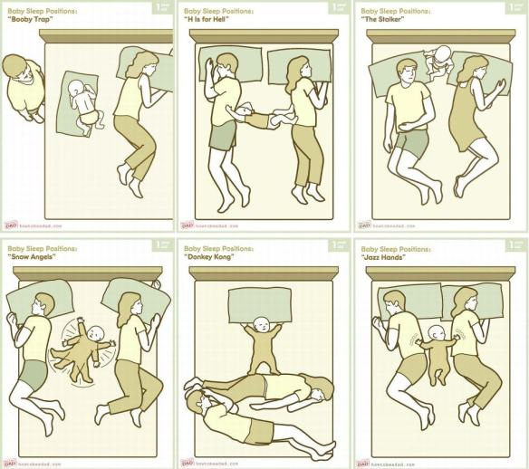 co-sleeping with baby positions image - not the best co sleeper!